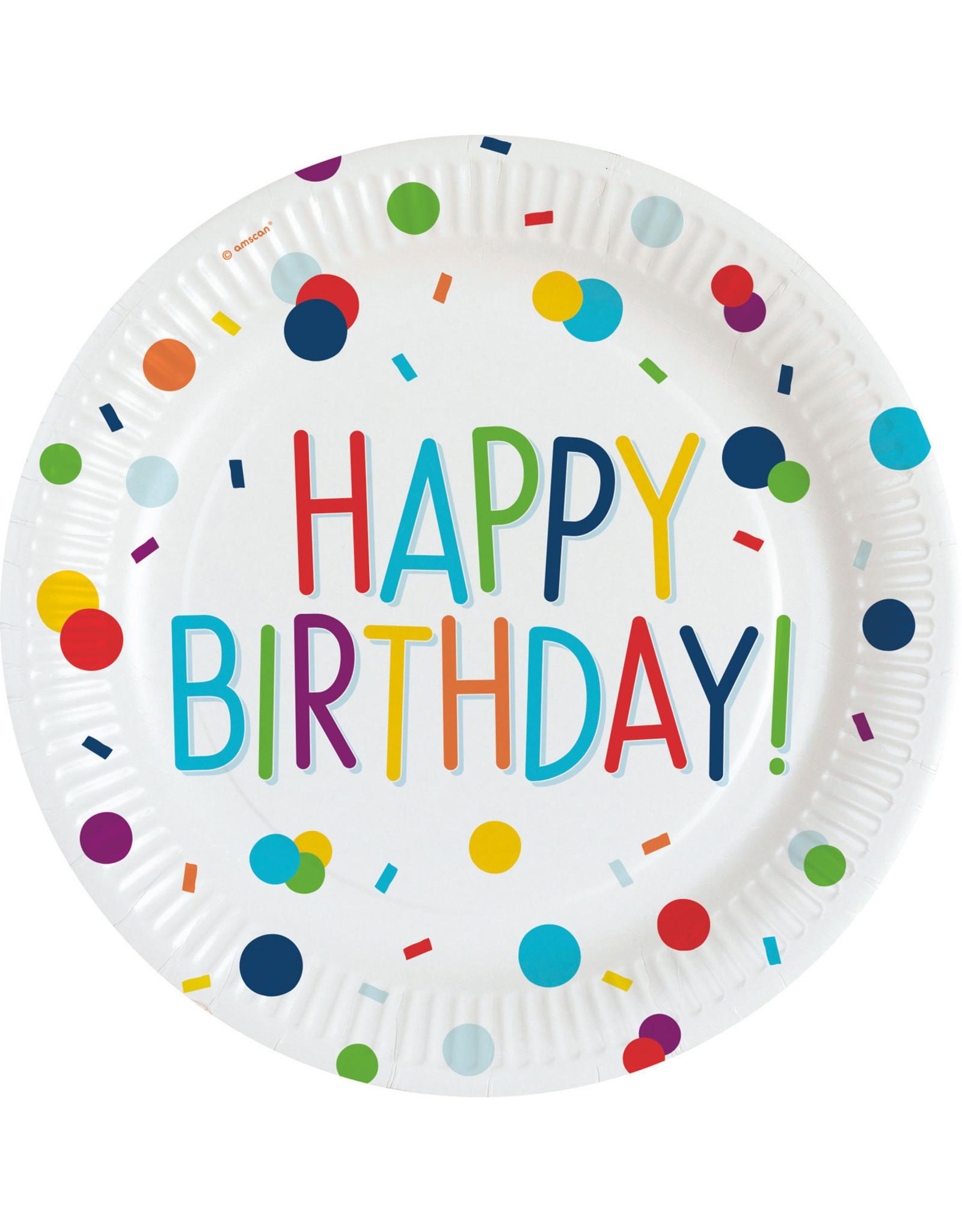 Amscan confetti borden happy birthday 23 cm 8 stuks