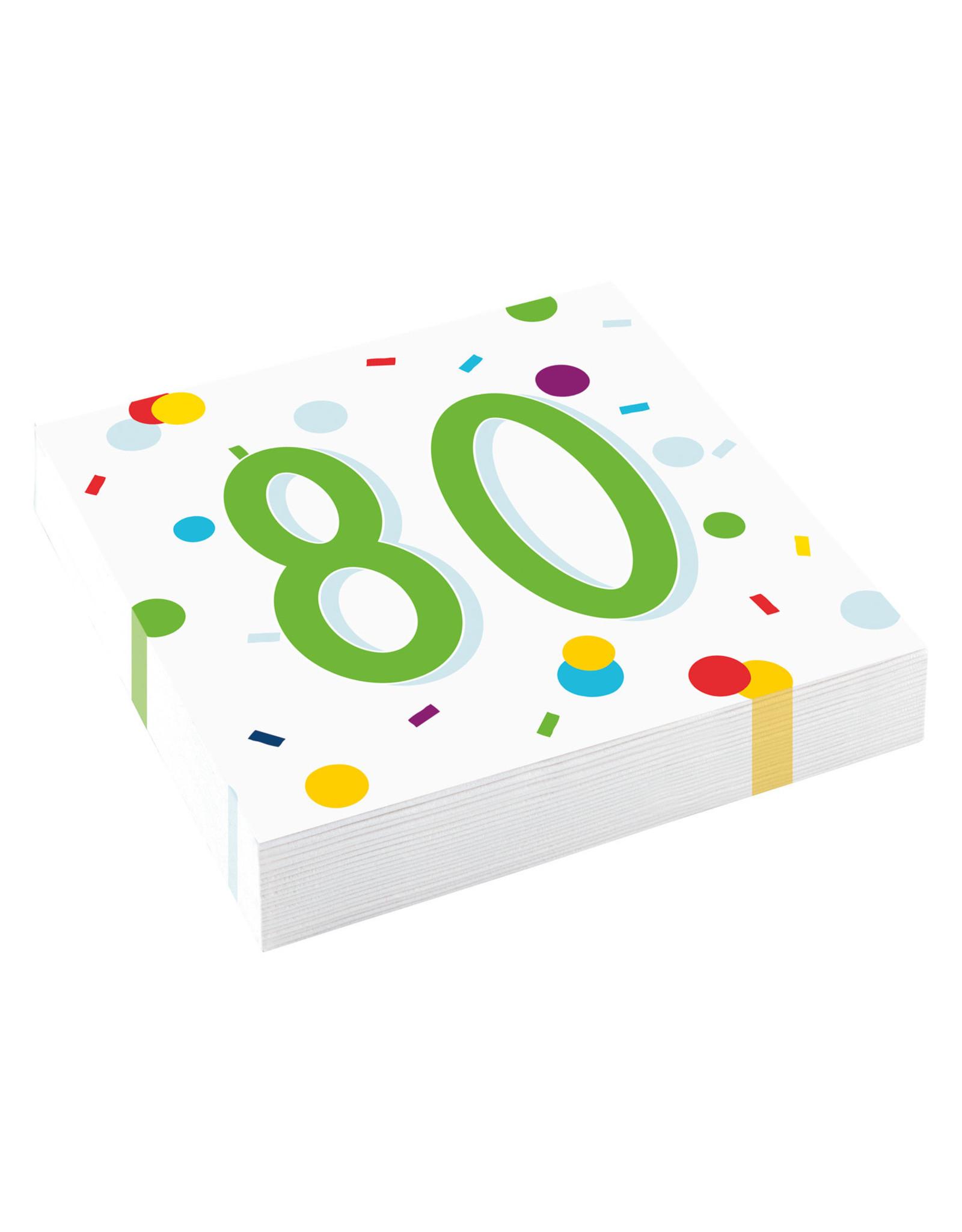 Amscan confetti servetten 80 jaar 20 stuks