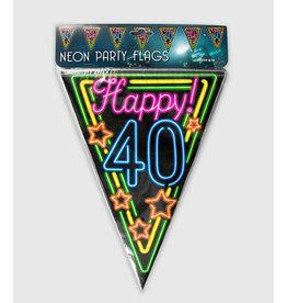 Neon vlaggenlijn 40 jaar 10 meter