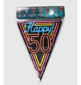 Neon vlaggenlijn 50 jaar 10 meter