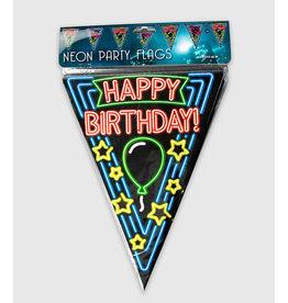 Neon vlaggenlijn happy birthday 10 meter
