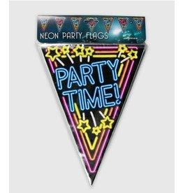 Neon vlaggenlijn party time 10 meter