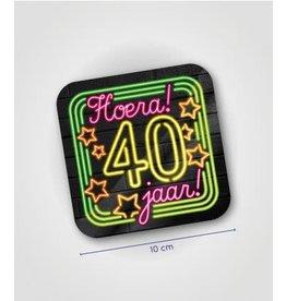 Neon onderzetter nr 6 40 jaar 6 stuks