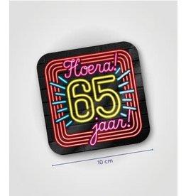 Neon onderzetters nr 11 65 jaar 6 stuks