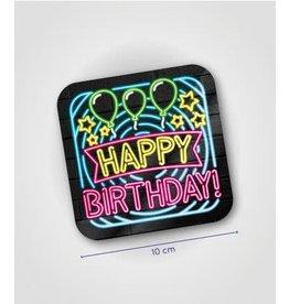 Neon onderzetters nr 13 Happy birthday 6 stuks