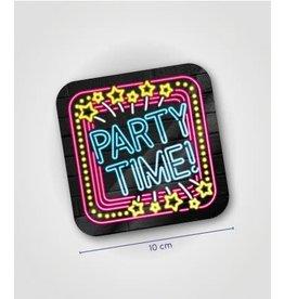 Neon onderzetters nr 15 Party time 6 stuks