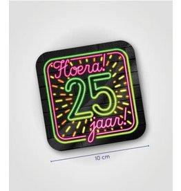 Neon onderzetters nr 4 25 jaar 6 stuks