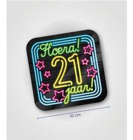 Neon onderzetters nr 3 21 jaar 6 stuks