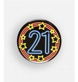 Neon button klein nr 3 21 jaar