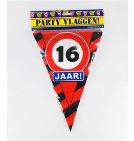 Verkeersbord vlaggenlijn 16 jaar 10 meter