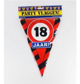 Verkeersbord vlaggenlijn 18 jaar 10 meter