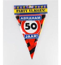 Verkeersbord vlaggenlijn 50 jaar Abraham 10 meter