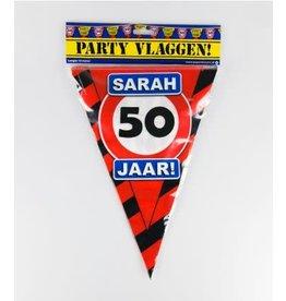 Verkeersbord vlaggenlijn 50 jaar Sarah 10 meter