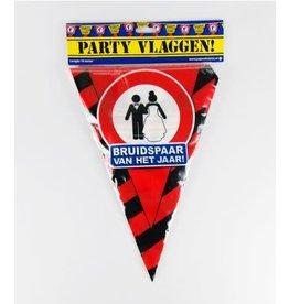 Verkeersbord vlaggenlijn bruidspaar 10 meter