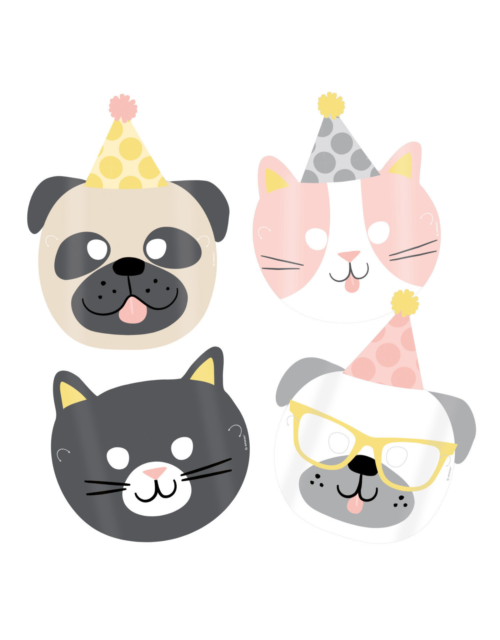 Amscan hello pets papieren maskers 8 stuks