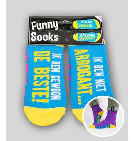 Funny socks nr 12 ik ben niet arrogant 1 paar