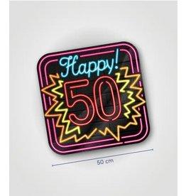 Neon huldeschild nr 7 50 jaar