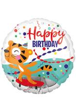 Amscan folieballon happy birthday tijger op skateboard