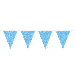 Vlaggenlijn glitter blauw 6 meter