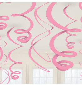 Amscan Swirl hangdecoratie baby roze 12 stuks
