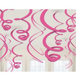 Amscan Swirl hangdecoratie fuchsia 12 stuks