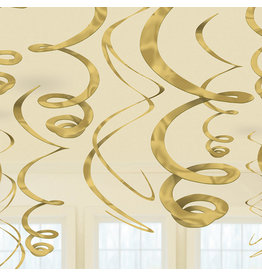 Amscan Swirl hangdecoratie goud 12x 55cm