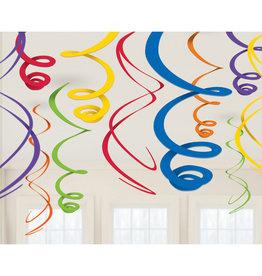 Amscan Swirl hangdecoratie multicolour 12 stuks
