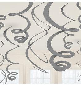 Amscan Swirl hangdecoratie zilver 12 stuks