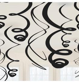 Amscan Swirl hangdecoratie zwart 12 stuks