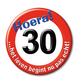 button klein nr 105 30 jaar verkeersbord