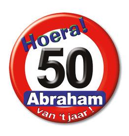 Button klein nr 108 Abraham 50 verkeersbord