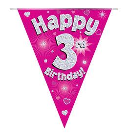 Vlaggenlijn happy 3rd birthday roze