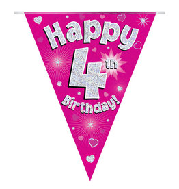 Vlaggenlijn happy 4th birthday roze