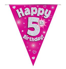 Vlaggenlijn happy 5th birthday roze
