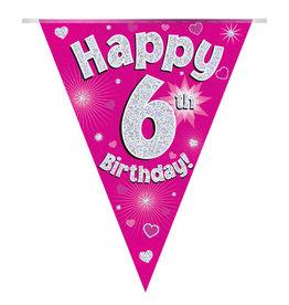 Vlaggenlijn happy 6th birthday roze
