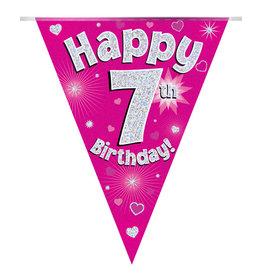 Vlaggenlijn happy 7th birthday roze