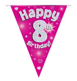 Vlaggenlijn happy 8th birthday roze