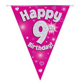 Vlaggenlijn happy 9th birthday roze