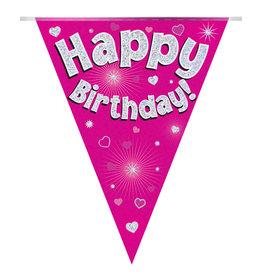 Vlaggenlijn happy birthday roze 3.9 meter