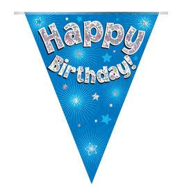 Vlaggenlijn happy birthday blauw 3.9 meter