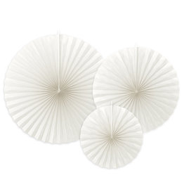 Partydeco rosettes wit 3-pack