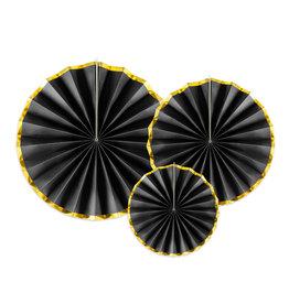 Partydeco rosettes zwart met gouden rand 3-pack