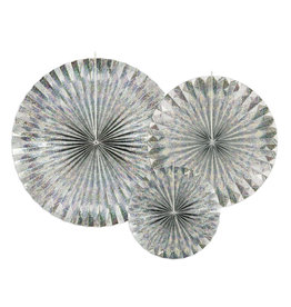 Partydeco rosettes holographic 3-pack