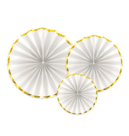 Partydeco rosettes wit met gouden rand 3-pack