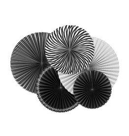 Rosettes zwart & wit 5-pack diverse maten