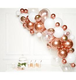 Ballonnenboogset DIY rosé gold/wit 66 ballonnen