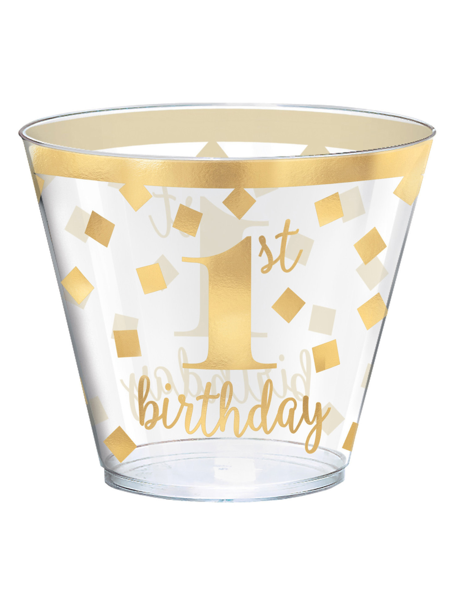 Amscan 1st birthday cups transparant 6 stuks