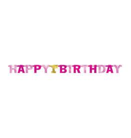 Amscan letterslinger happy 1st birthday roze goud