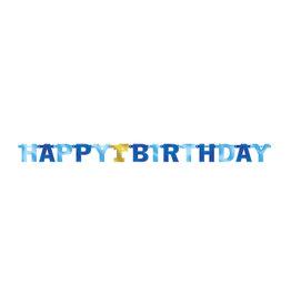 Amscan letterslinger happy 1st birthday blauw goud