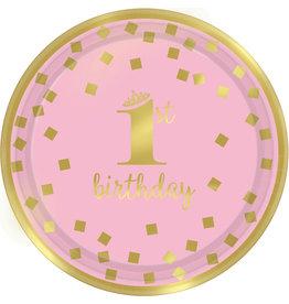 Amscan 1e verjaardag borden goud roze 17,8 cm 8 stuks